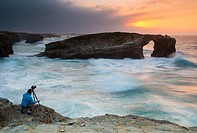Playa de Las Catedrales (Beach of the Cathedrals) is the turistic name of Playa de Aguas Santas (Beach of the Holy Waters) , Ribadeo, in the Cantabria...