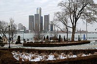 Dieppe Gardens Park in Windsor, Ontario and Detroit skyline in winter.