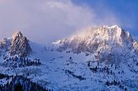Winter dawn on Carson Peak, June Lake, California USA.