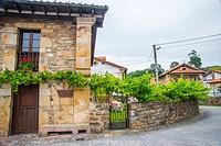 Facade of traditional house. Barcenillas, Cantabria, Spain.