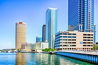 Buildings along the Tampa riverfront in Florida.
