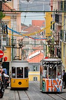 funicular elevador Da Bica yellow and tag painted funiculars Lisbon Portugal.