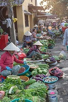 street market green vegetables Hoi An Vietnam.