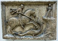 St George and the Dragon Flanked by the Dandolo Arms. Italy. Venice. Istrian stone. About 1500. The Victoria and Albert Museum. London. England.
