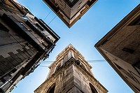 Low angle view of buildings in Spaccanapoli street. Naples, Italy