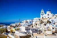 The church of Agia Theodosia situated in Pyrgos medieval village in Santorini island, Cyclades, Greece