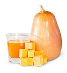 Pumpkin And A Glass Of Pumpkin Juice Isolated On White Background.