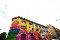 Graffiti mural in Rome, Ostiense, Italy