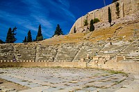Theater of Dionysus Eleuthereus in Acropolis of Athens, Greece. The Theatre of Dionysus Eleuthereus is a major theatre in Athens. Athens, Central Athe...