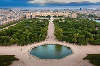 Tuileries Gardens and Louvre from above.