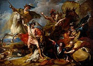 Benjamin West - Alexander III of Scotland Rescued from the Fury of a Stag by the Intrepidity - National Galleries of Scotland.