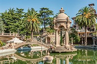 Park and the bizarre architecture of the Villa Grock in Ornelia, Imperia, at the Ligurian Coast, North West Italy.