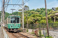 Enoshima Dentetsu Line at Hase station, Kamakura, Kanagawa, Japan.