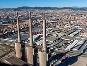 Power plant towers. Sant Adrià del Besòs. Spain.