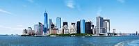 Panorama of Landmark New York City Manhattan Skyline and World Trade Center Freedom Tower.