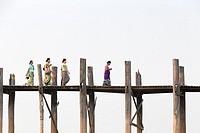 U Bein bridge, Amarapura's Taungmyo lake, Mandalay region, Myanmar.