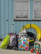Brightly coloured luggage on the quayside waiting to board the ferry near Gothenburg, Sweden.