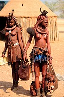 Himba girls in his village. Epupa, Kunene Region, Kaokoland, Namibia.