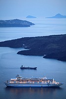 Greece, Cyclades, Santorini, cruise ship, sunset, Nea Kameni island,.