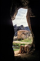 The hermitage of San Bartolomé seen from the Great Cave, in the bottom of the Canyon of the Lobos River. Canos de Río Lobos Natural Park. Soria. Casti...