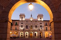 Plaza del Mercado, night view. Avila, Spain.
