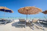 Chaise-longue. in a beach in Isla Holbox, Quintana Roo (Mexico).