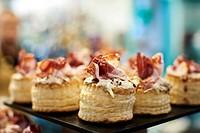 Pintxos, Iberian Ham, Bilbao, Biscay, Basque Country, Spain
