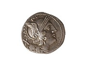 Roman silver denarius.