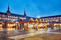 Christmas Market in Plaza Mayor at Christmastime. Madrid. Spain.