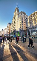 Montera street with Telefonica building at the right hand side. Gran Via Street, Madrid. Spain.