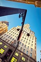 Telefonica building and Gran Via street. Madrid, Spain.