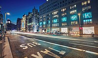 Primark Shopping center in Gran Via street at night, Madrid, Spain.