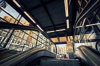 Low angle view of the underground entrance at Callao square. Madrid. Spain.
