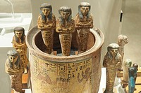 Funral statues, Egyptian museum, Turin, Italy, Europe.