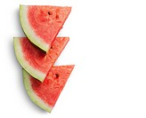 Three slices of watermelon on each other isolated on white background.