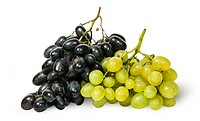 Two bunches of grapes isolated on white background.