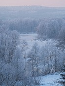 Eastern Poland. Podlasie region. Bug river on a frosty morning