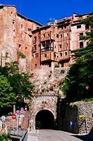 Hanging houses in the medieval village of Albarracin, Teruel, Spain.