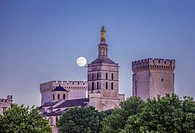 France, Provence region, Avignon city, the Popes Palace skyline with the moon, W. H. ,.