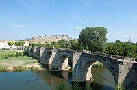 "World heritage of UNESCO, the Cite of Carcassonne and """"old bridge"""" with Aude river. Occitanie France."
