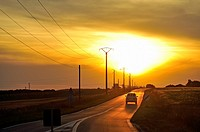 country road at sunset, Eure-et-Loir department, Centre-Val de Loire region, France, Europe.