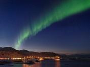 Northern Lights over the bridges of Fredvang (Fredvangbruene) connecting the islands Moskenesoya and Flakstadoya. The Lofoten Islands in northern Norw...