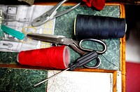 Tailoring tools in Sastrería Jimenez tailoring shop, Colonia Roma, Mexico City, Mexico.