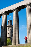 The Nelson Monument and National Monument on Calton Hill in Edinburgh, Scotland, United Kingdom.