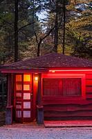 USA, New York, Adirondack Mountains, Lake Placid, red motel.