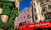 Lisbon sightseeing bus, at right Internacional Design Hotel Boutique Hotel Lisbon, Rua da Betesga, at left Praça Dom Pedro IV street, Rossio square, B...