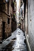 Old streets of Barrio Gotico , Barcelona, Spain.