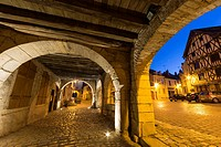 French village Noyers at night, Yonne, Bourgogne, France.