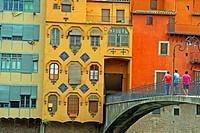 houses along the river Onyar, Girona, Catalonia, Spain