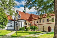 The Minorite monastery with the Church of Corpus Christi is located in the town of Cesky Krumlov on the Vltava River in Bohemia, Jihocesky kraj, Czech...